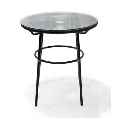 steel pe wicker table with glass top