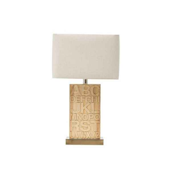 RUBBER WOOD TABLE LAMP-WOOD W/WHITE SHADE