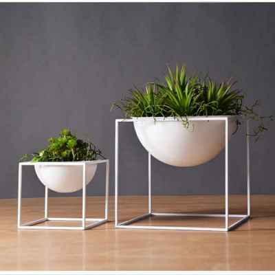 White Metal Plant Pot